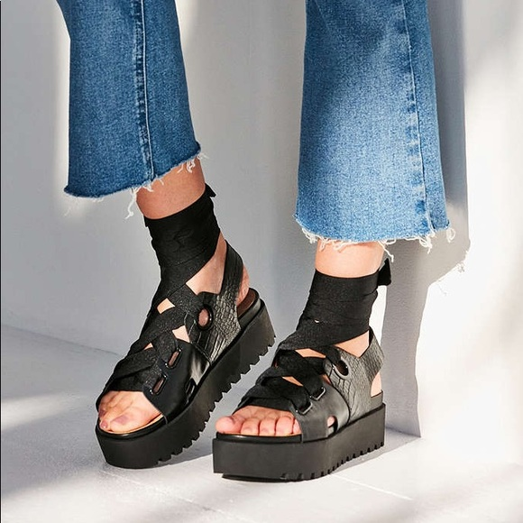 51ee5d82c5d Urban Outfitters Ribbon lace up platform sandal 6